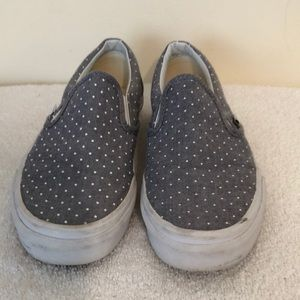 Vans Grey white polkadot size 6 athletic shoe EUC
